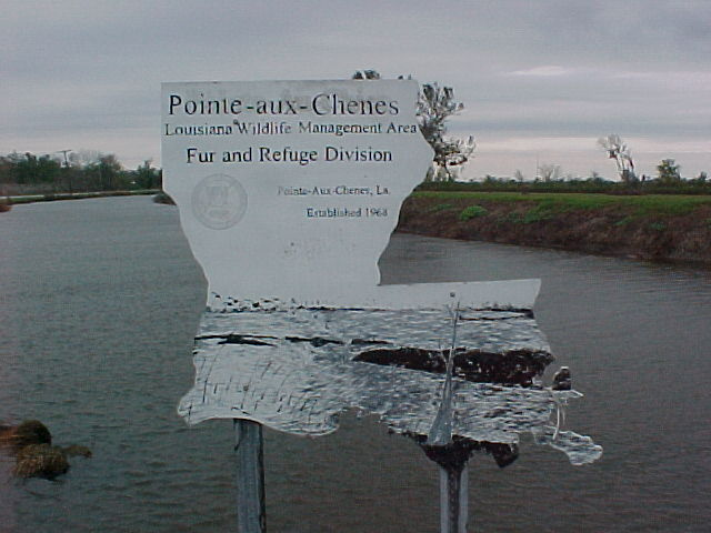 Sign in the shape of the State: Louisiana DWF, Point aux Chenes WMA.