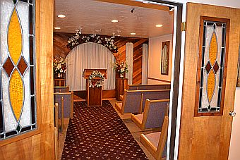 chapel of the bells is a small wedding chapel in south lake tahoe california right next to the nevada border